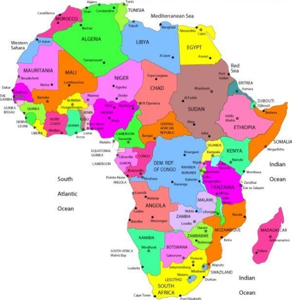 Map Of Africa With Countries And Capitals Labeled